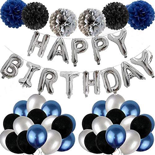 tarumedo Geburtstagsdeko Jungen Blau, Geburtstag Deko Jungen Dunkelblau Geburtstag Dekoration Set, Happy Birthday Foilluftballoon Girlande, 6 Pompoms, 30 Luftballons Blau Weiß Schwarz
