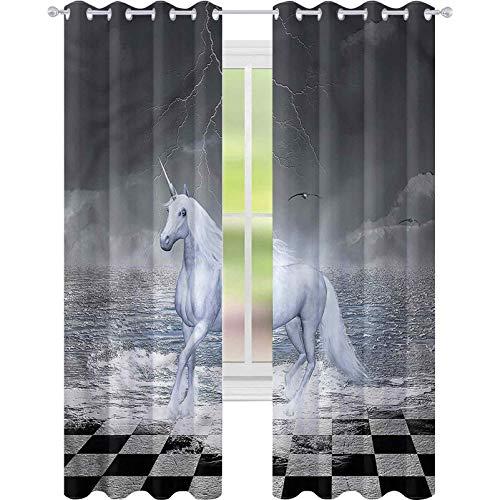 Cortinas opacas para oscurecer la habitación, diseño de unicornio, surrealista, tablero de ajedrez, 52 x 72, para sala de estar