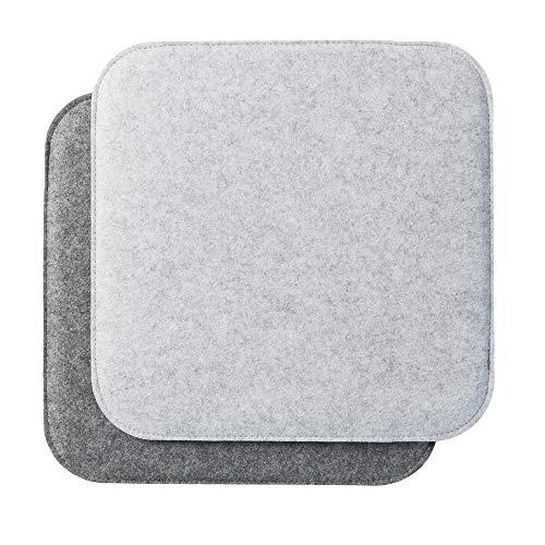 luxdag Sitzkissen aus Filz mit Schaumstoffkern zweifarbig 2er Set quadratisch hellgrau-grau (Form & Farbe wählbar) Stuhlkissen für Stühle, Bänke