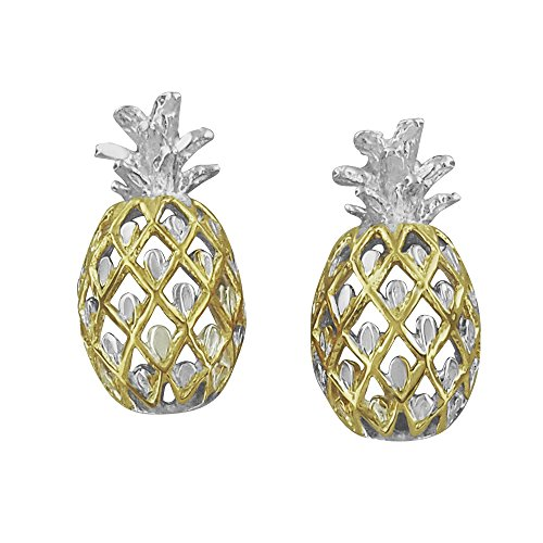 Sterling Silver with Yellow Gold Tone Accents Pineapple Stud Earrings