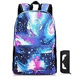 SKL Galaxy School Backpack, School Bag Student Stylish Unisex Canvas Laptop Backpack Lightweight