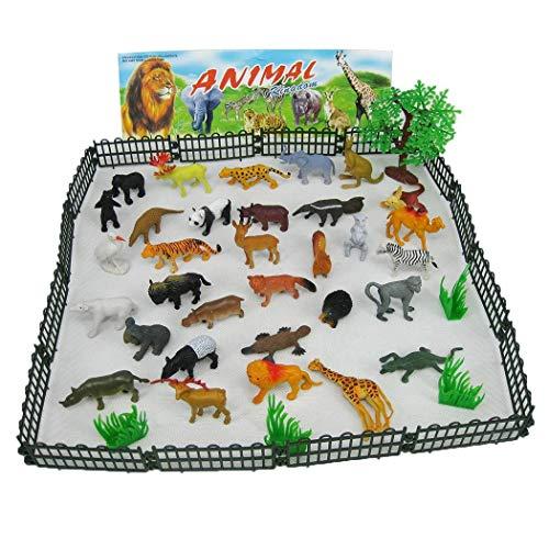fnemo Tierfigur Spielzeug,Kinder Dschungel Tier Spielzeug Set Baum Zaun Wildlife Modell Kinder Parteibevorzugungen Puzzle Bildung Spielzeug Spielset