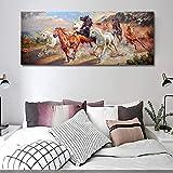 KWzEQ Running Horse Lienzo Pintura Animal Land Space Mural Poster y salón Impreso decoración del hogar,Pintura sin Marco,30x75cm