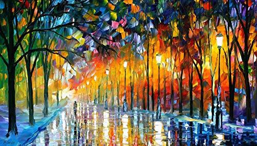 Pintura al óleo abstracta del paisaje de la calle del parque en carteles de la lona e impresiones imagen impresionista para la decoración de la sala de estar A248 60x80cm