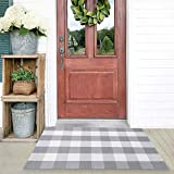 Buffalo Plaid Check Rug Outdoor Grey 27.5 x 43 Inches Washable Woven Outdoor Rugs for Layered Door Mats Porch/Kitchen/Farmhouse Grey and White Doormat