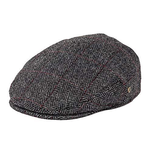 Gorra plana gris a cuadros, lana en espiga, gorras de vendedor de periódicos, mezcla de tweed, hombres, mujeres, boina, clásico, sombrero de conductor, golf, caza, hiedra, sombreros, gris oscuro, xl