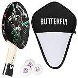 Butterfly Timo Boll SG11 - Juego de raquetas de ping pong y funda Cell Case y 3 pelotas ITTF R40 + pelotas de ping pong