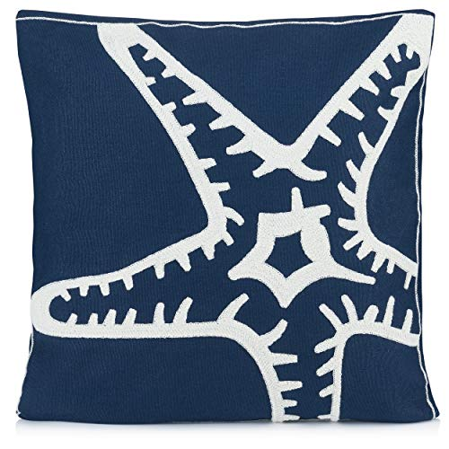 Beach Throw Pillow| Decorative Sofa Pillow Cushion Cover 18 x 18 Inch Pillow Case Cover | Decorative Beach Pillow Cover Blue with Embroidered Starfish