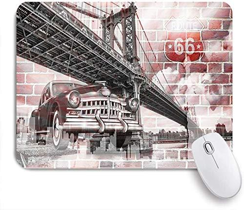 Benutzerdefiniertes Büro Mauspad,Brooklyn Bridge und Oldtimer und Backsteinmauer für Wandbild,Anti-slip Rubber Base Gaming Mouse Pad Mat