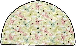 Rug Bathroom Mat Anime,Funny Bunnies Clouds and Bones Pattern Doodle Kawaii Illustration,Pale Green Pale Pink Seafoam,W31 x L20 Half Round Carpet Flooring