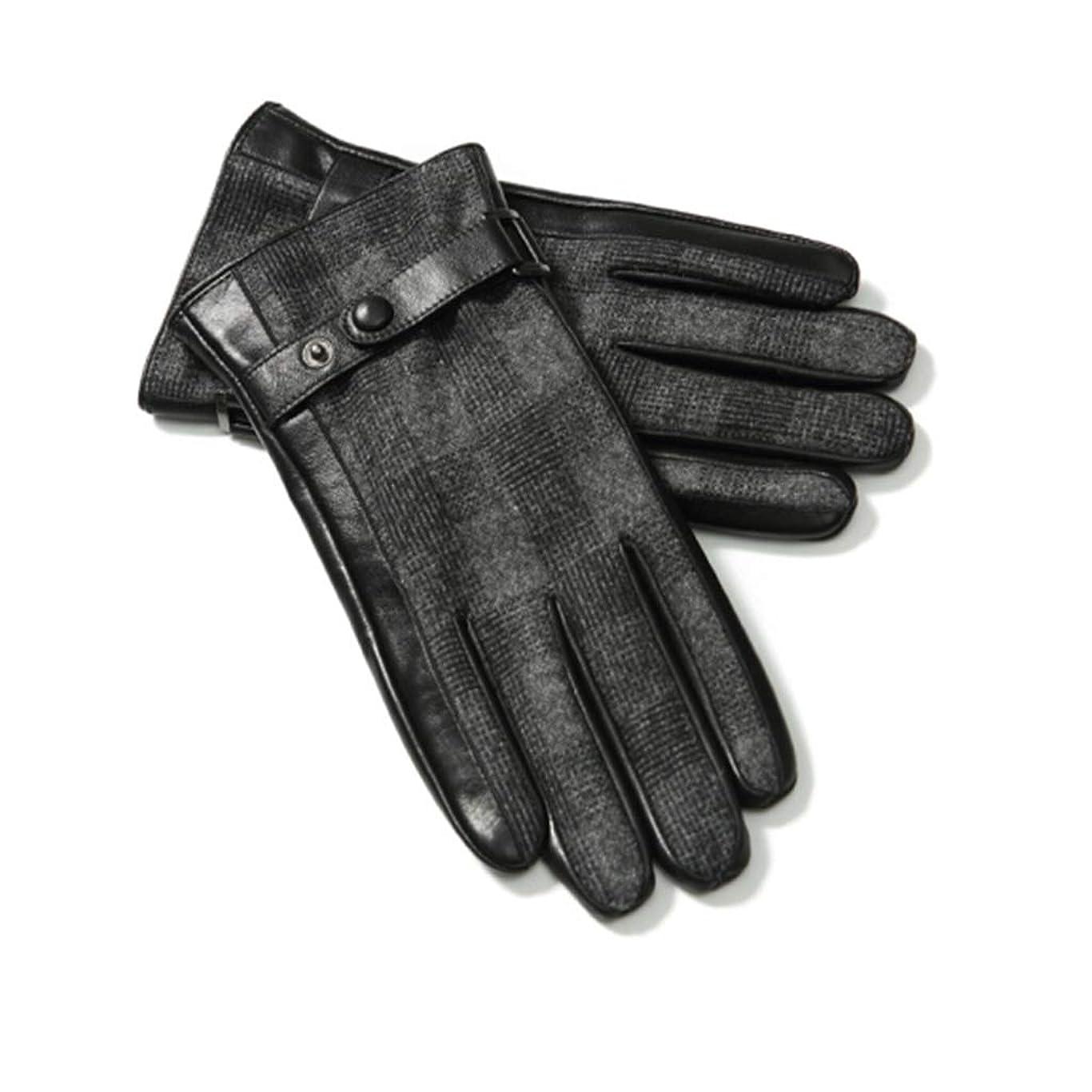 観光に行く押し下げるオペラレザーグローブメンズ秋冬ファッションプラスベルベット厚い暖かい防風コールドライディングバイクタッチスクリーンレザーグローブ男性ギフトボックスGLZ003 Lコード