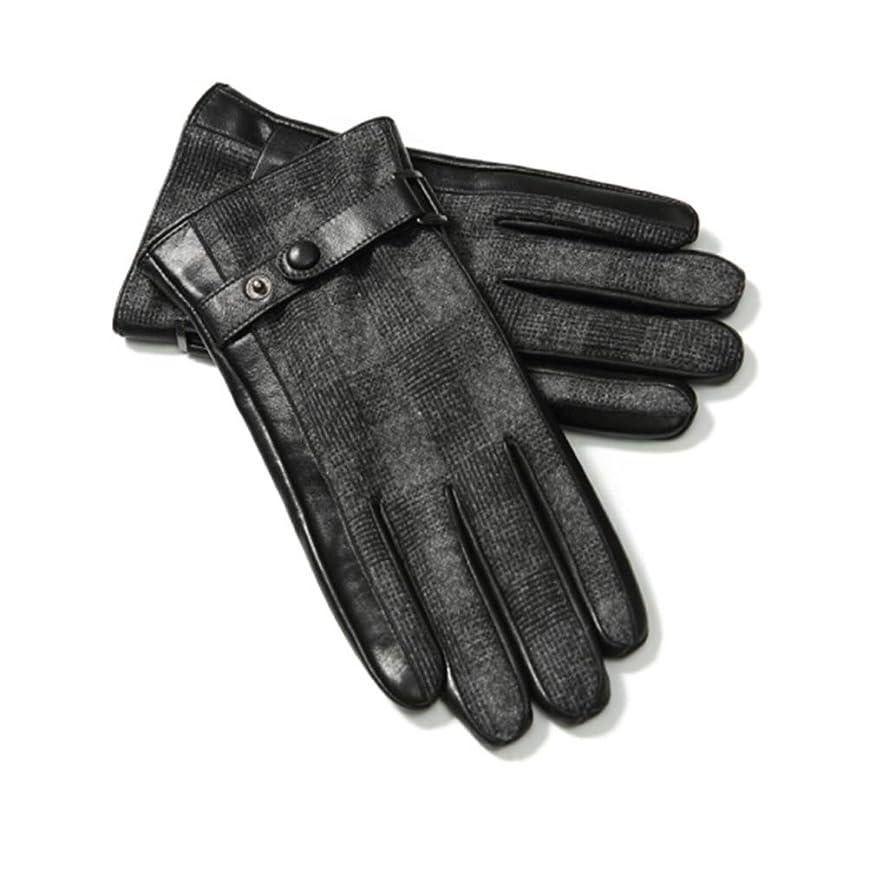 薄暗い服を洗う機転レザーグローブメンズ秋冬ファッションプラスベルベット厚い暖かい防風コールドライディングバイクタッチスクリーンレザーグローブ男性ギフトボックスGLZ003 Lコード
