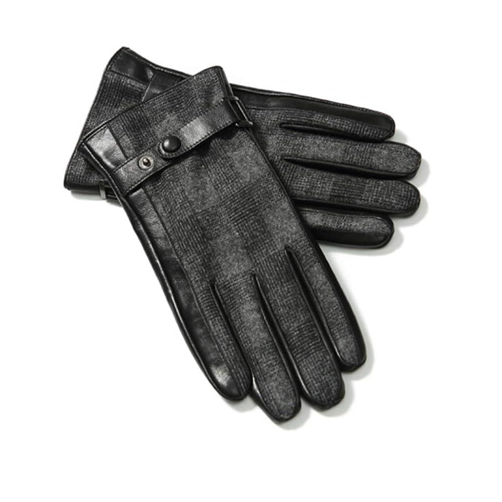 原子炉障害者説明レザーグローブメンズ秋冬ファッションプラスベルベット厚い暖かい防風コールドライディングバイクタッチスクリーンレザーグローブ男性ギフトボックスGLZ003 Lコード