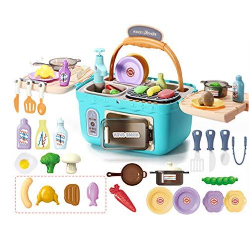 N / C Kids Play Kitchen Picnic Playset, Canasta de Cocina Multifuncional de Juguete, con Sonidos de Luces realistas, Comida Que Cambia de Color, Regalos de Horno portátil para niñas y niños