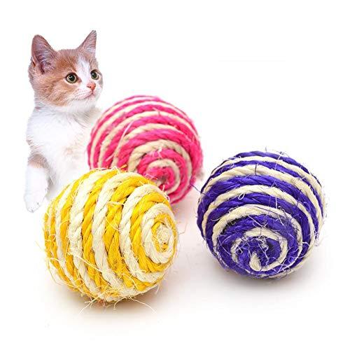 LAAT Jouet de Chat drôle Balles Jouets Balles Sonores Boule de sisal Naturelle Chats Chien Pet Chat Attrape la Balle 3pcs