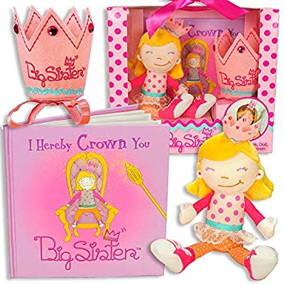 Big Sister Gift Set- I Hereby Crown You Big Sister Book, Doll, and Child Size Crown from Tickle & Main