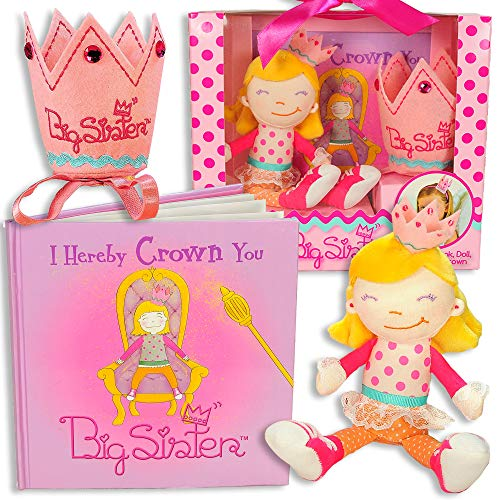 Big Sister Gift Set- I Hereby Crown You Big Sister Book, Doll, and Child Size Crown