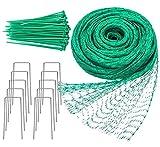 YHmall 4M x 10M Vogelnetz Vogelschutznetz Engmaschig Stabil mit 50 Kabelbinder und 10 U-förmigen Stiften für Teichnetz Pflanzennetz Schutznetz Taubennetz Erbsenetz Obstbaumnetz Gartennetz (Grün)