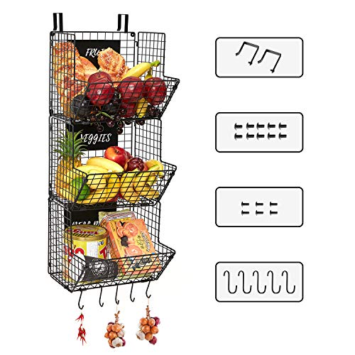 Smartor 3 Tier Wall Mounted Wire Baskets with Adjustable Chalkboards S-Hooks, Large Capacity Metal Wall Fruit Basket - Pantry Organizer for Fruit Produce Snacks