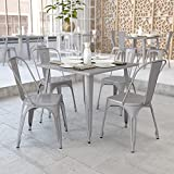 Flash Furniture Commercial Grade 35.5' Square Silver Metal Indoor-Outdoor Table