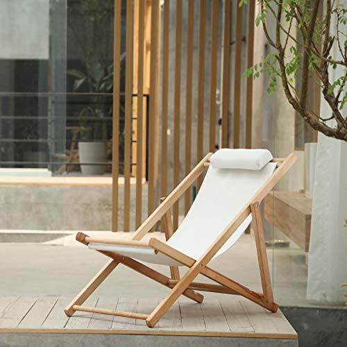 Sedia reclinabile in legno reclinabile per giardino, balcone, spiaggia, sedia a sdraio, doppio uso per interni ed esterni