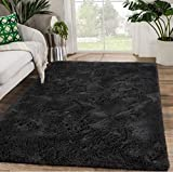 Zareas Modern Furry Area Rugs for Living Room 5x8 Black Shag Rug for Bedroom Fluffy Soft Fuzzy Carpet for Kids Room Girls Boys Long Fur Indoor Dorm Nursery Mini Spa Floor Comfy Accent Home Decor Mat