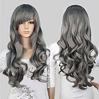 HYLong New Lady Girl Cool Gray Harajuku Style Wig Long Body Curly Wavy Side Swept Bang