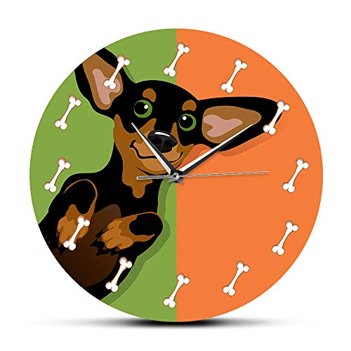 Reloj De Pared Dachshund De Dibujos Animados Con Reloj De...