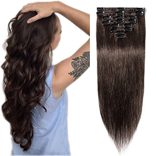 Extension Capelli Veri Clip Invisibili 8 Ciocche/Set per Full Head Allungamento dei Capelli Donna Remy Human Hair Naturali 60cm/80g # Castano Scuro
