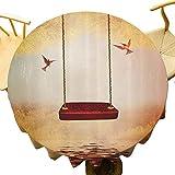 Hummingbirds Decor ations Mantel redondo decoración Hamaca roja y colibrí en un lago pacífico fantasía Escena de cuento de hadas Imagen Uso diario Rojo Marfil Diámetro 80,9 cm