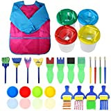 SunshineFace - Juego de 25 pinceles de esponja para niños, herramientas de dibujo, cepillos de lavado, delantal impermeable