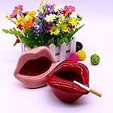 LIOOBO Aschenbecher aus Keramik, Lippen- und Mundform, für Zuhause, Rosa - 2