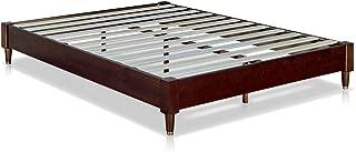 MUSEHOMEINC Mid-Century Modern Wood Platform Bed Frame with Wooden Slats Suppor/No Boxspring Neede/Cuprum Leg Base,Walnut Finish,King