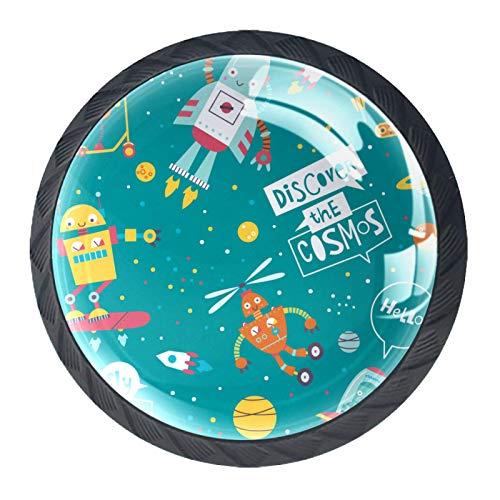 Schubladenknöpfe aus Glas, Cartoon-Universum, für Schrank, Tür, Kleiderschrank, Schrank