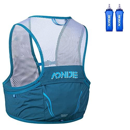 AONIJIE Mochila de hidratación para correr, mochila de 2,5 l, arnés para senderismo, camping, escalada con 2 botellas de 500 ml (azul profundo, S/M)