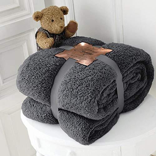 Hachette Teddy-Fleece-Überwurf, Decke, weich, warm, Überwurf über Sofa, Bett, Reise, Tagesdecke, Decke (Anthrazit, Doppelbett) - 150 x 200 cm
