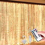 shuangjishan Curtain Lights, Window Curtain String Light 300 LED 8 Lighting Modes Waterproof Light for Party Christmas Bedroom Wedding Home Garden Wall Decoration