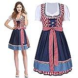 Anladia 3 TLG.Trachtenkleid Oktoberfest Kostüm für Damen Bayerisches Maid Kleid Trachten Kleider Biermädchen Karnevalskostüme Dirndlkleid