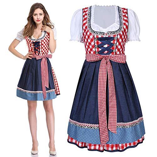 Anladia 3 TLG.Traditionell klänning oktoberfest kostym för kvinnor bayersk maidklänning kostymklänningar ölflickor karnevalkostymer Dirndlklänning
