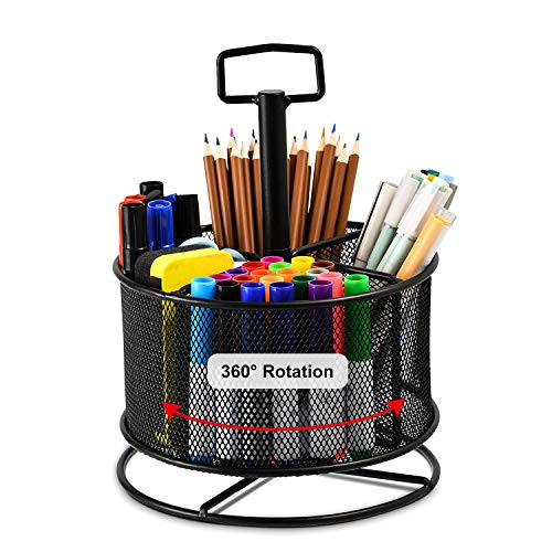 Marbrasse Mesh Desk Organizer,360-Degree Rotating Multi-Functional Pen Holder,4 Compartments Desktop Stationary Organizer, Home Office Art Supply Storage Box Caddy Rack (Black)