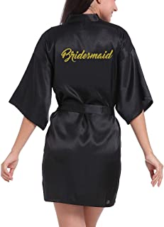 Lovacely Women's Satin Kimono Short Robes for Bridesmaid Wedding Party Getting Ready Dressing Gown with Gold Glitter