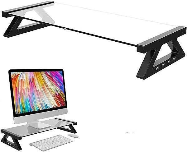 显示器支架笔记本电脑支架钢化玻璃电脑桌,带 USB,适合笔记本电脑桌显示