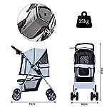 PawHut Pet 4 Wheels Travel Stroller Dog Cat Pushchair Trolley Puppy Jogger Folding Carrier (Grey) 13