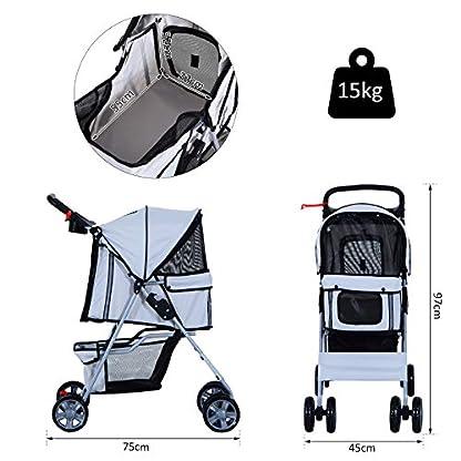 PawHut Pet 4 Wheels Travel Stroller Dog Cat Pushchair Trolley Puppy Jogger Folding Carrier (Grey) 4