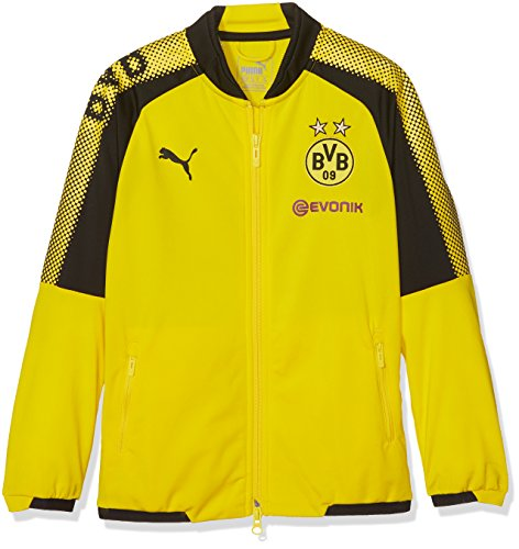 PUMA Kinder BVB Poly Jacket Sponsor Logo 2 Side Pockets with z Jacke, Cyber Yellow Black, 176