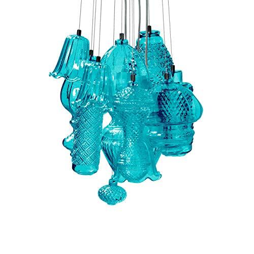 Karman Ceraunavolta lampadario composizione 12 pezzi in vetro azzurro tiffany