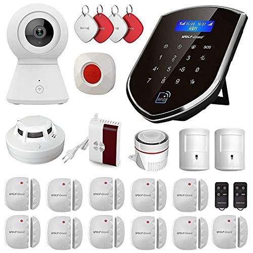 Wolf Guard WT2R-D GSM WIFI Sistema de Alarma Seguridad, Control Remoto para Hogar por CALL/SMS/APP, Kits Alarma Antirrobo Inalámbrico DIY con Detector Anti-Mascotas/Puerta
