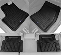 Solid Pro Rubber Car Floor Mats - Heavy Duty Plus Liners for Auto SUV Truck Car Van - 4-Piece Set - Thick, Odorless & All Weather (Black)