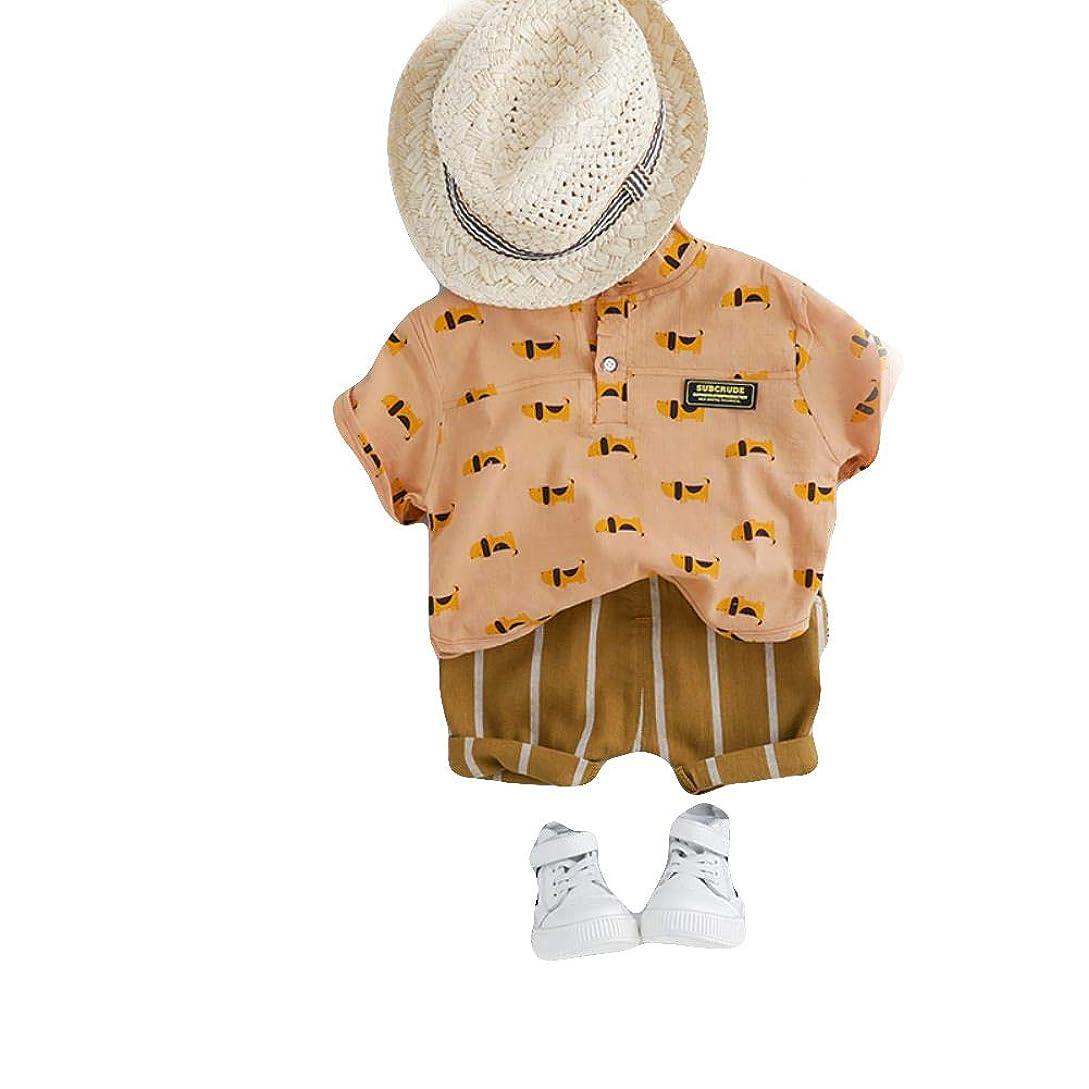 インゲン自分のドライバ幼児服tシャツ 2019夏セット漫画ストライプショーツキッズ子供衣装