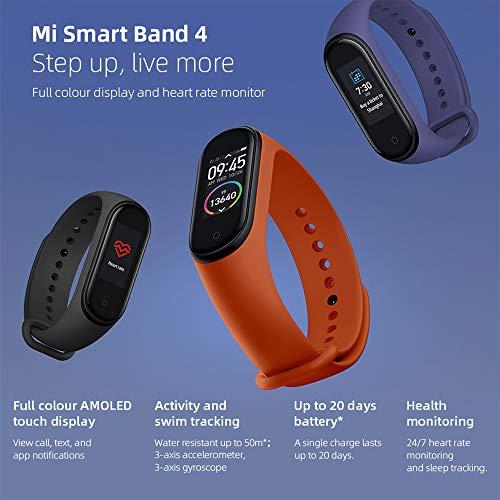 Pulsera de actividad Xiaomi Mi Band 4 Fitness Tracker, color AMOLED con pantalla Bluetooth 5.0, monitor de frecuencia cardíaca, 50 metros, pulsera impermeable con batería de 135 mAh hasta 20 días